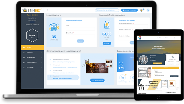 Espaces administrateur et utilisateur : personnalisable, intuitif et responsive